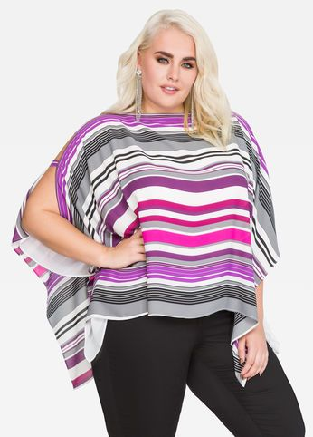 8e35d8ac82b00 Striped Chiffon Poncho Top Striped Chiffon Poncho Top