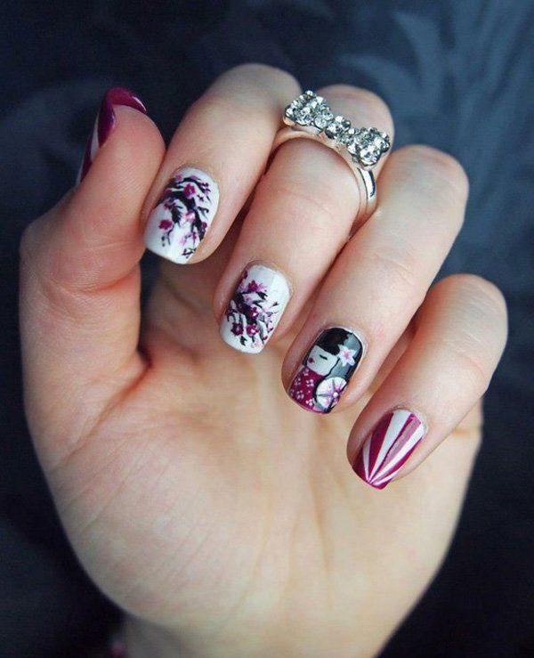 Japanese nail art - 65 Japanese Nail Art Designs Short Nails, Geisha And Cherry Blossoms