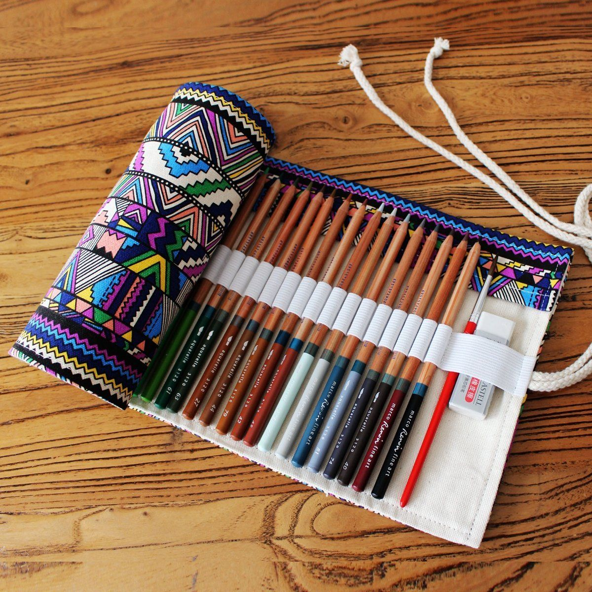 GUchina Canvas Pencil Case, Canvas Pencil Wrap