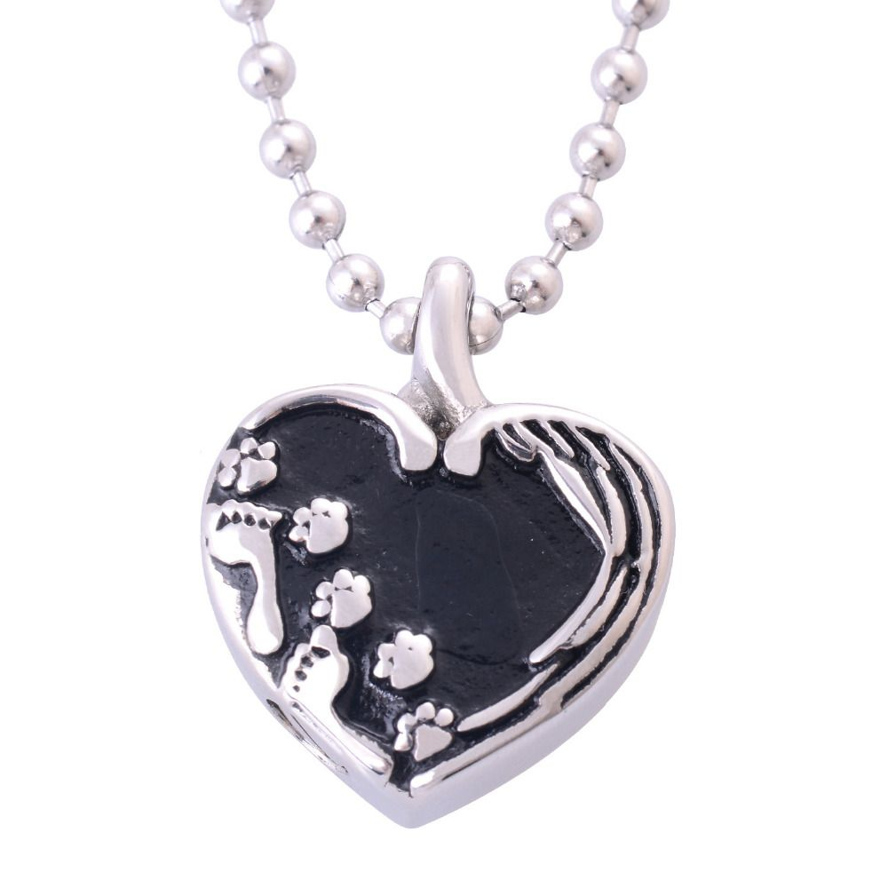 Perfect Memorials Footprints On My Heart Gold Stainless Steel Cremation Jewelry