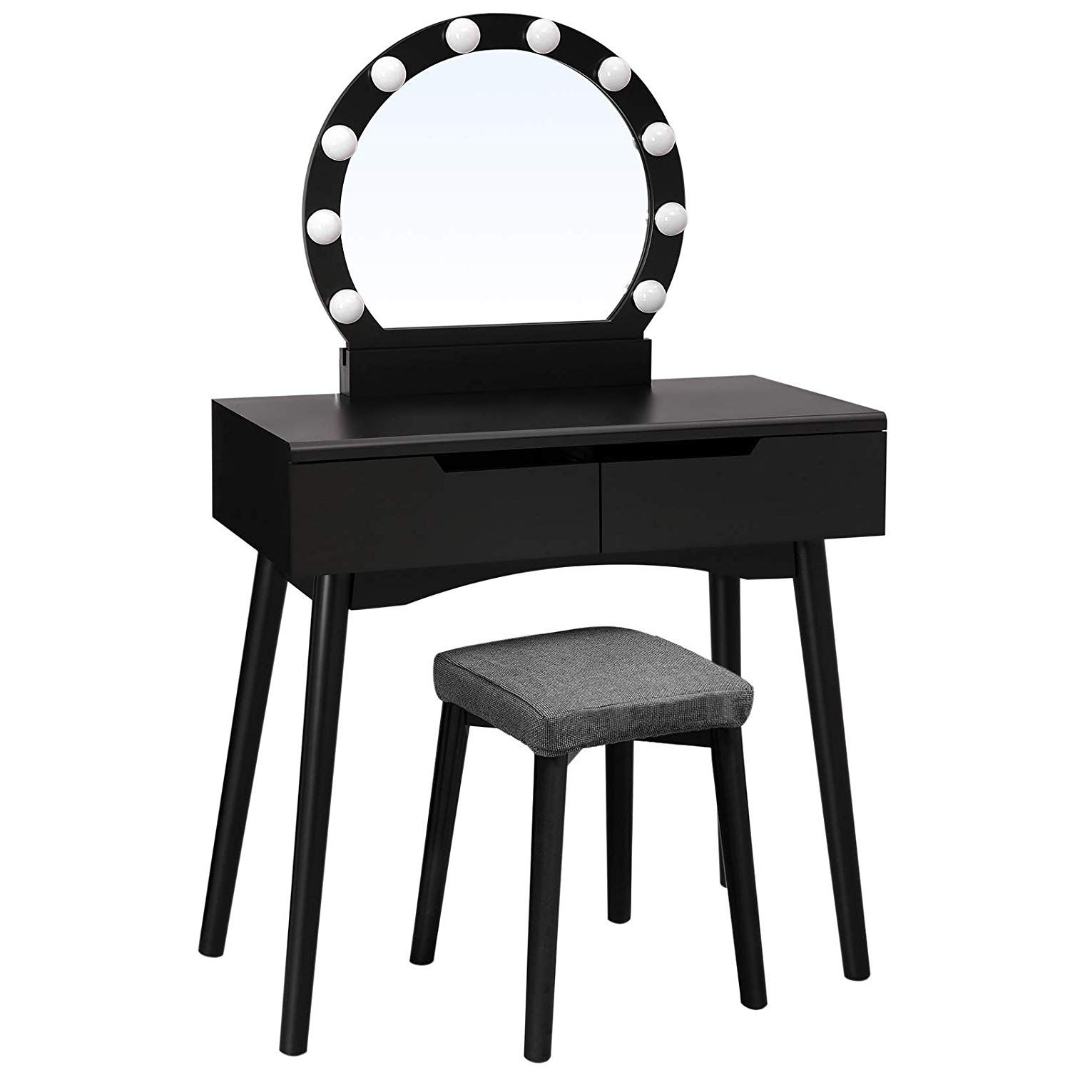 Songmics Illuminated Dressing Table With Mirror And Light Bulbs Vanity Table Dressing Table For A Perfect Ma Gluhbirne Schminktisch Spiegel Gepolsterter Hocker