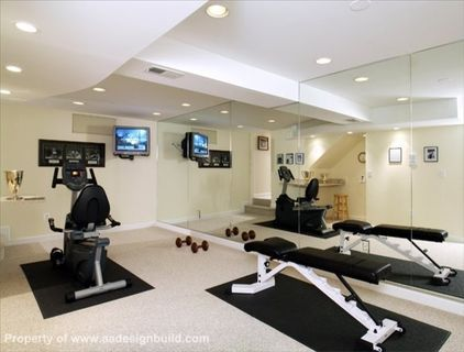 pretty great gym in basement  workout room home gym room