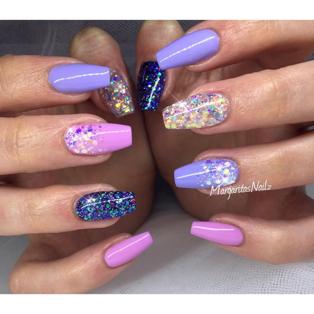 Purple and pink sumner nails glitter ombré nail art design ...