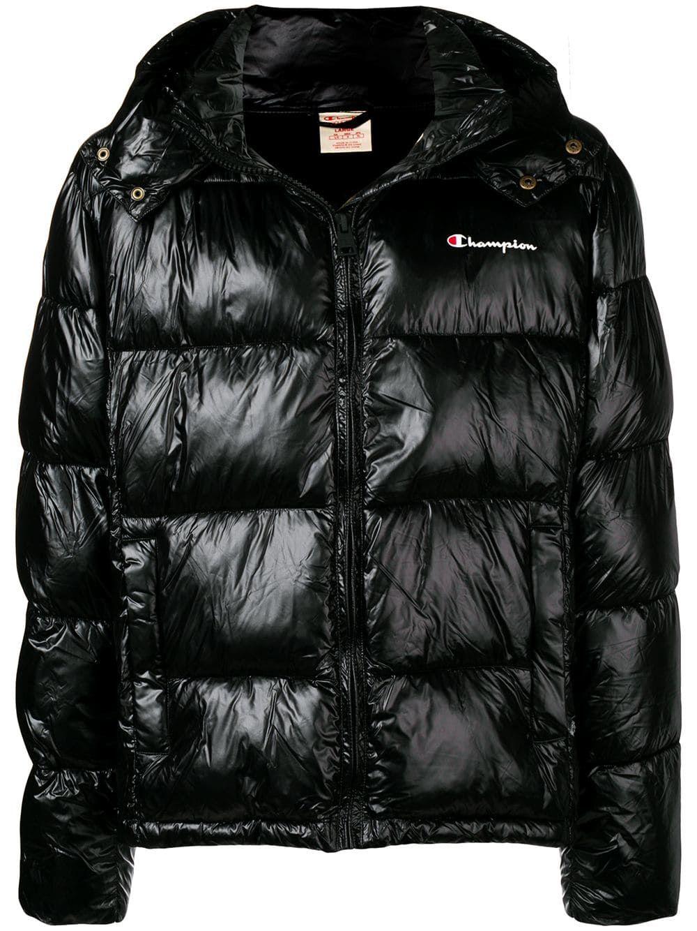 Champion Padded Jacket In Black Modesens Black Padded Jacket Padded Jacket Jackets [ 1334 x 1000 Pixel ]