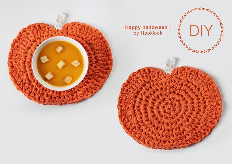 set de table citrouille hooklook m li m lo d 39 id es en laine et au crochet halloween. Black Bedroom Furniture Sets. Home Design Ideas