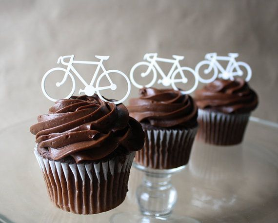 12 Road Bicycle Cupcake Toppers Acrylic Thick Amp Thin
