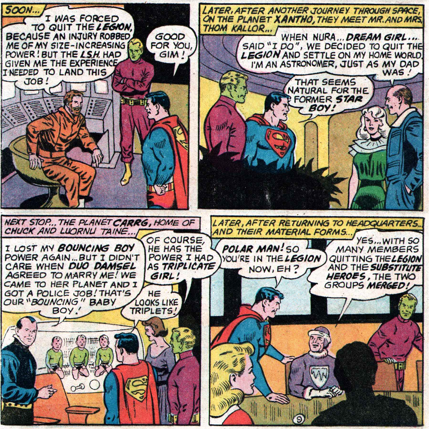 Adv_354. Aside from the marriages and deaths, we discover that Matter-Eater Lad has become the president of his home planet, Bismoll, and Colossal Boy in retirement after an injury. Polar Boy disbanded the Substitute Legion and became a member of the Legion. All of these elements would come into play in later stories.
