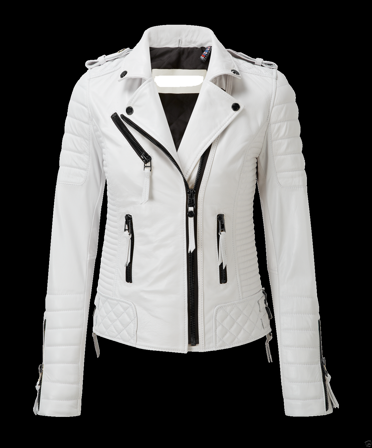 New White Leather Jacket Women Quilted Biker Motorcycle