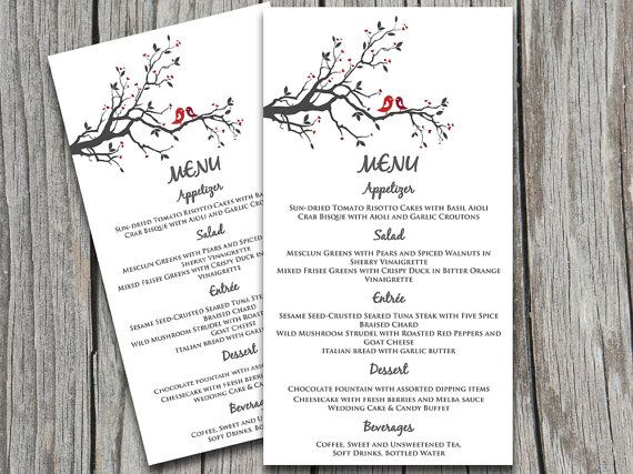 Love Bird Wedding Menu Card Microsoft Word Template Grey - microsoft word menu templates