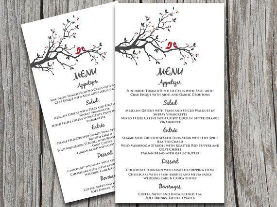 Love Bird Wedding Menu Card Template - Grey Red Burgundy \