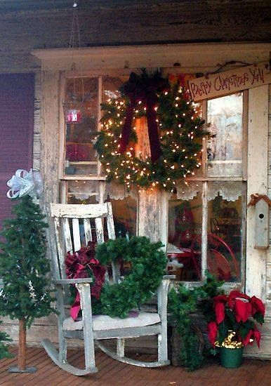 christmas country porch old wreath in a rocker