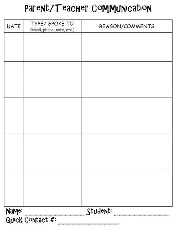 Parent Teacher Communication Log Ms Limas 39 Classroom
