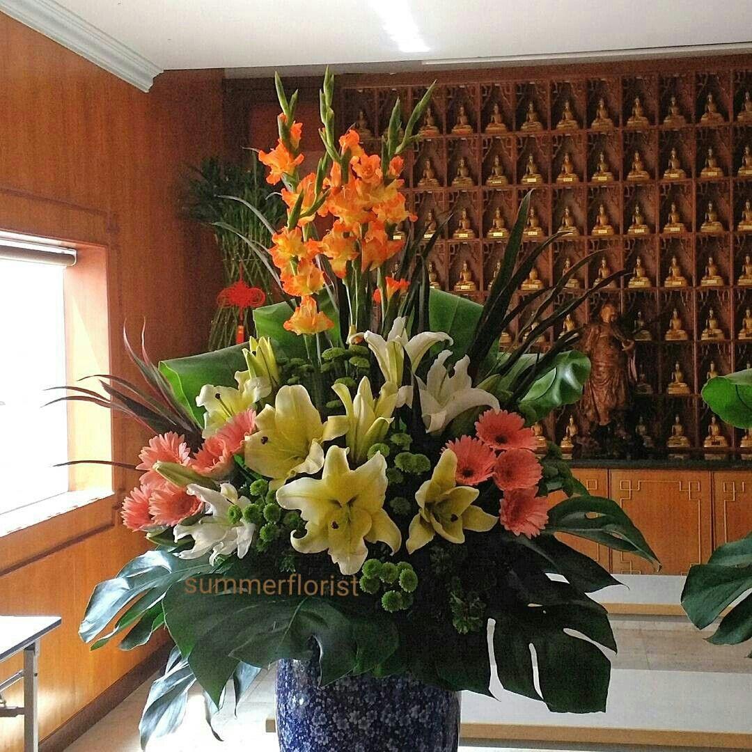 Church Altar Arrangements Wedding Flowers Gladiolas: //flower Arrangement