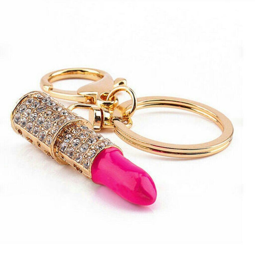 Charm Kristall Lippenstift Anhänger Schlüsselanhänger Auto Damen Handtasche