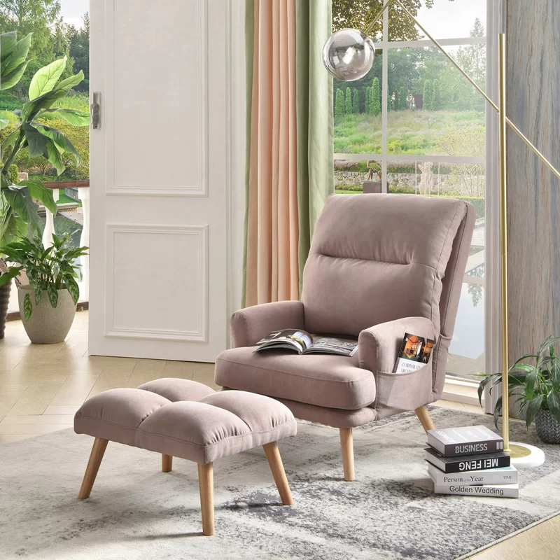 Melo Adjustable Lounge Chair And Ottoman In 2020 Living Room Chairs Velvet Wingback Chair Mid Century Chair #ottoman #seating #living #room
