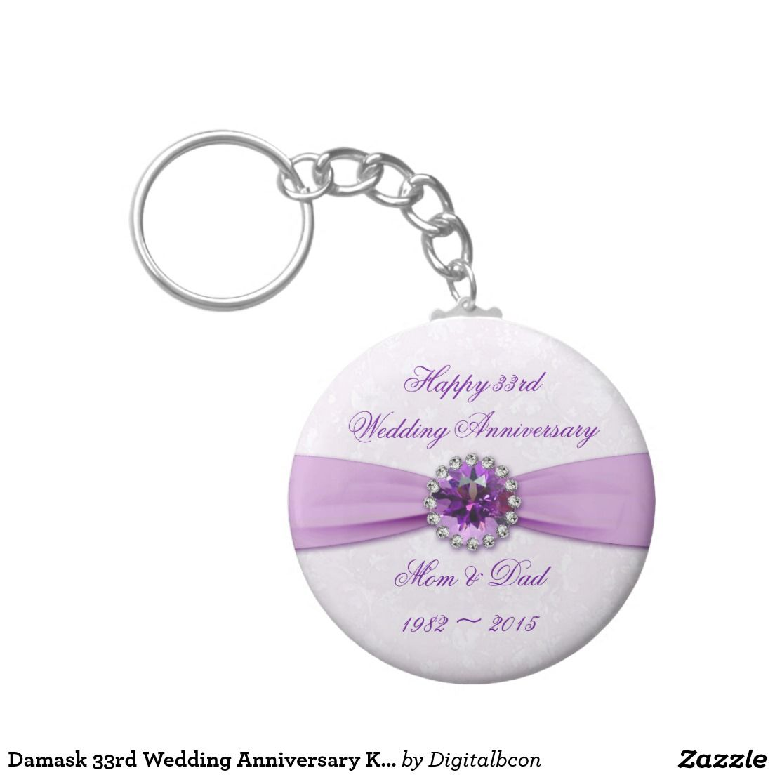 Damask 33rd Wedding Anniversary Key Chain 33rd Wedding Anniversary
