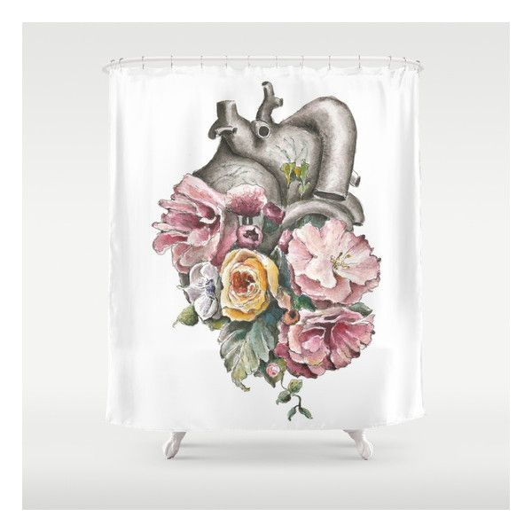 Floral Anatomy Heart Shower Curtain ($68) ❤ liked on Polyvore ...