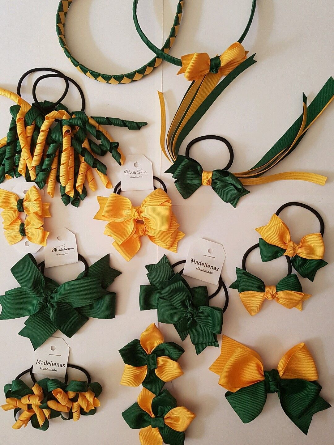 Madelienas Handmade School Hair Accessories set BOTTLE GREEN & YELLOW-GOLD | eBay