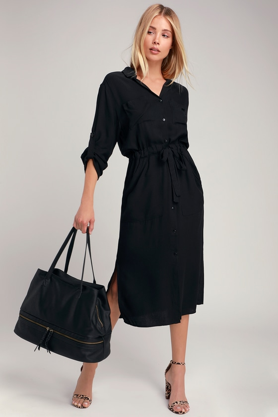 c2d774d0a19 Throw on the LUSH Brewer Black Midi Shirt Dress for chic, no nonsense look!  A collared neckline and long sleeves top this classic woven midi shirt dress .