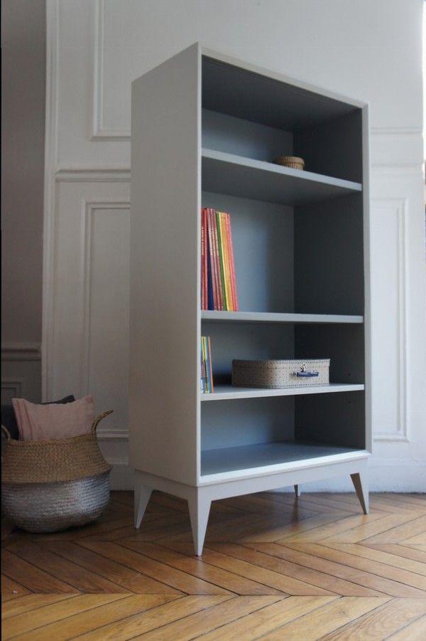 Bibliotheque Etagere Pieds Compas Petit Toit Relooking Meuble Mobilier De Salon Relooker Meuble