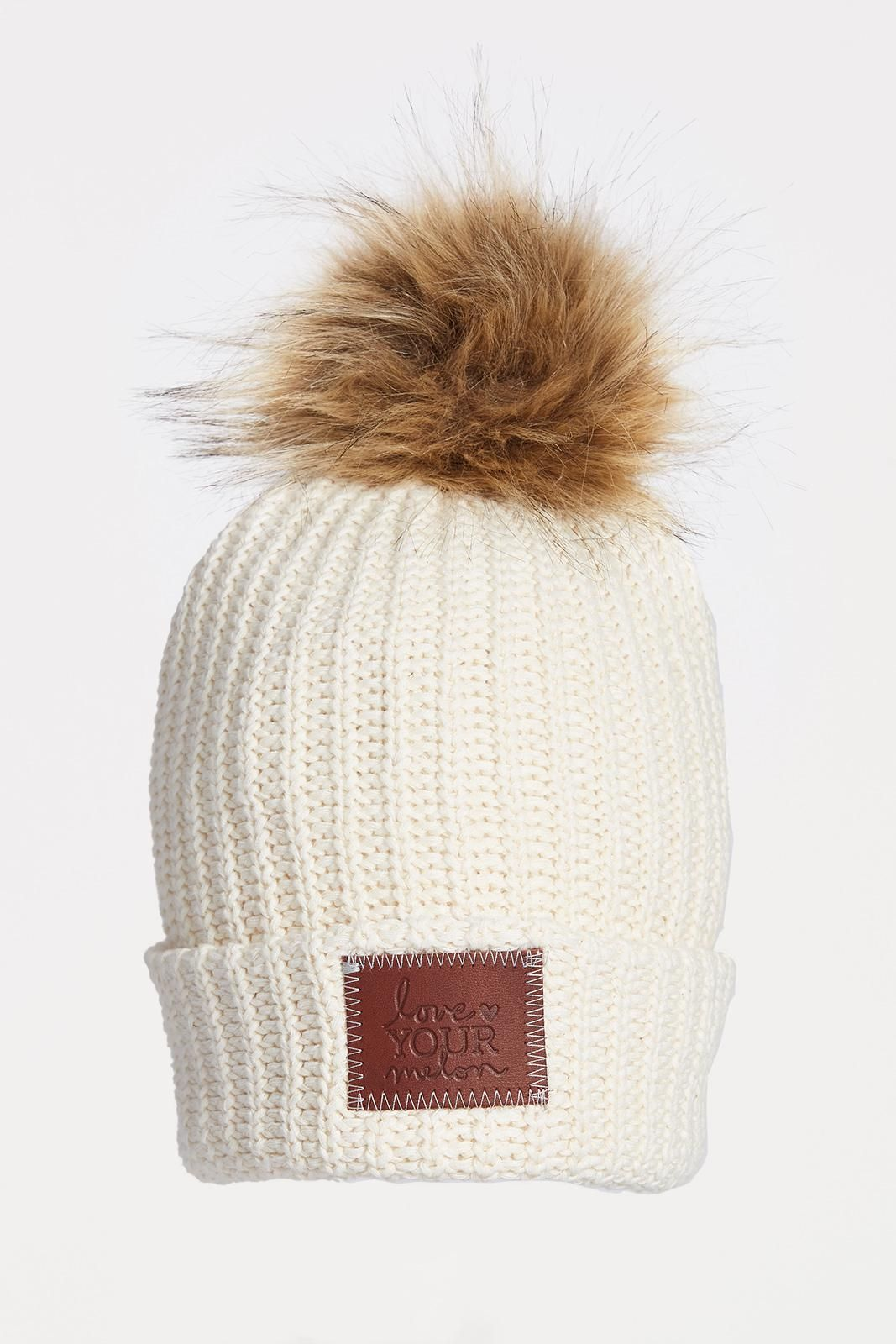 33003777d7d LOVE YOUR MELON White Speckled Pom Beanie