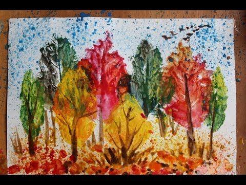 Осенний пейзаж поэтапно для детей. Печатание листьями ...