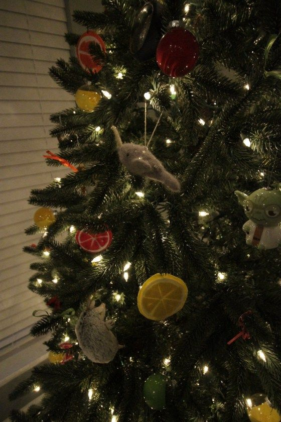 Our Indoor Christmas Decor 2016 - Charleston Crafted - colorful christmas tree with felt citrus slice ornaments and animals narwhal yoda hedgehog