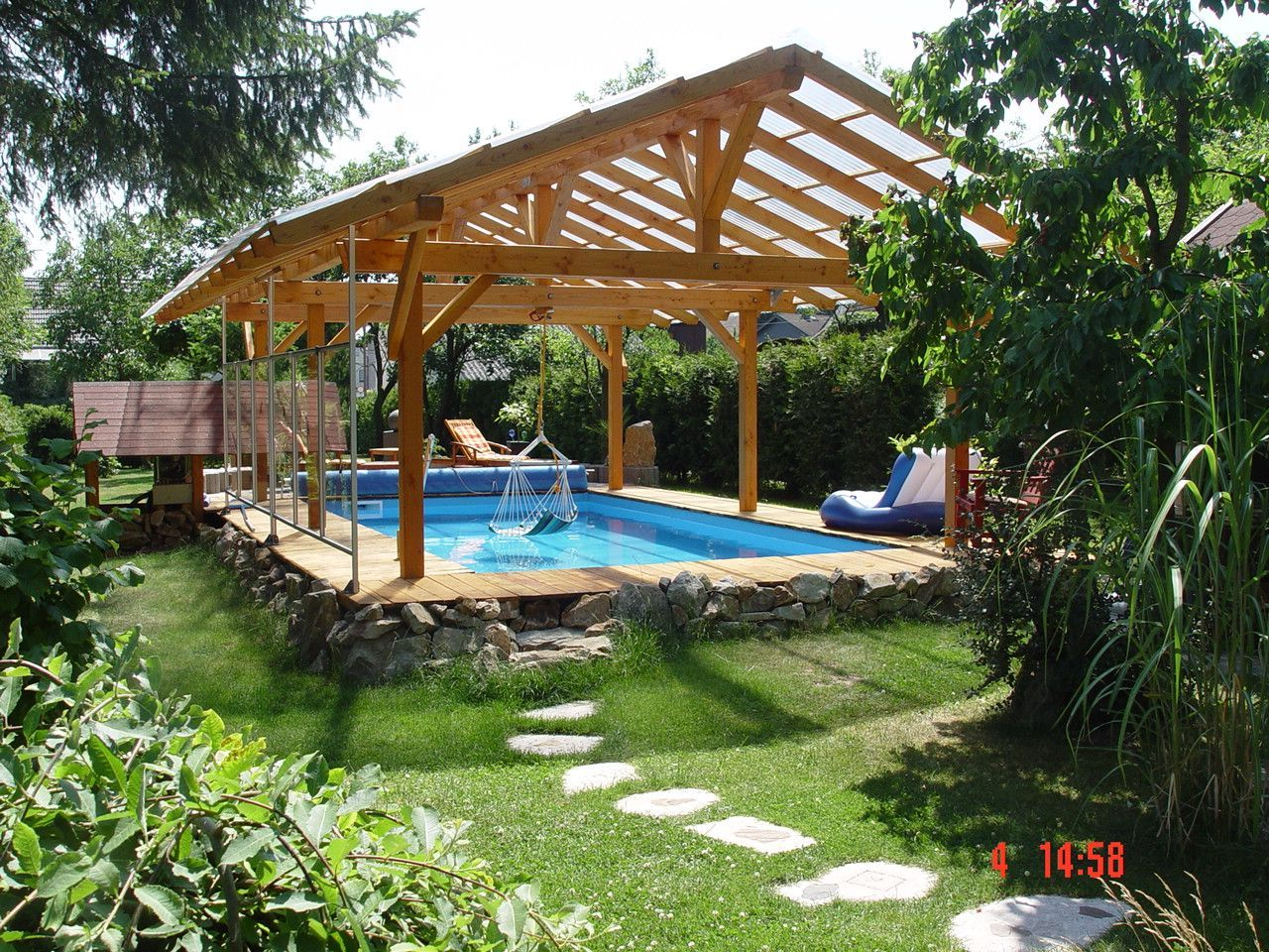 Pool Mauern Das Resultat Poolselberbauen In 2020 Pool Canopy Backyard Pool Designs Backyard Pool