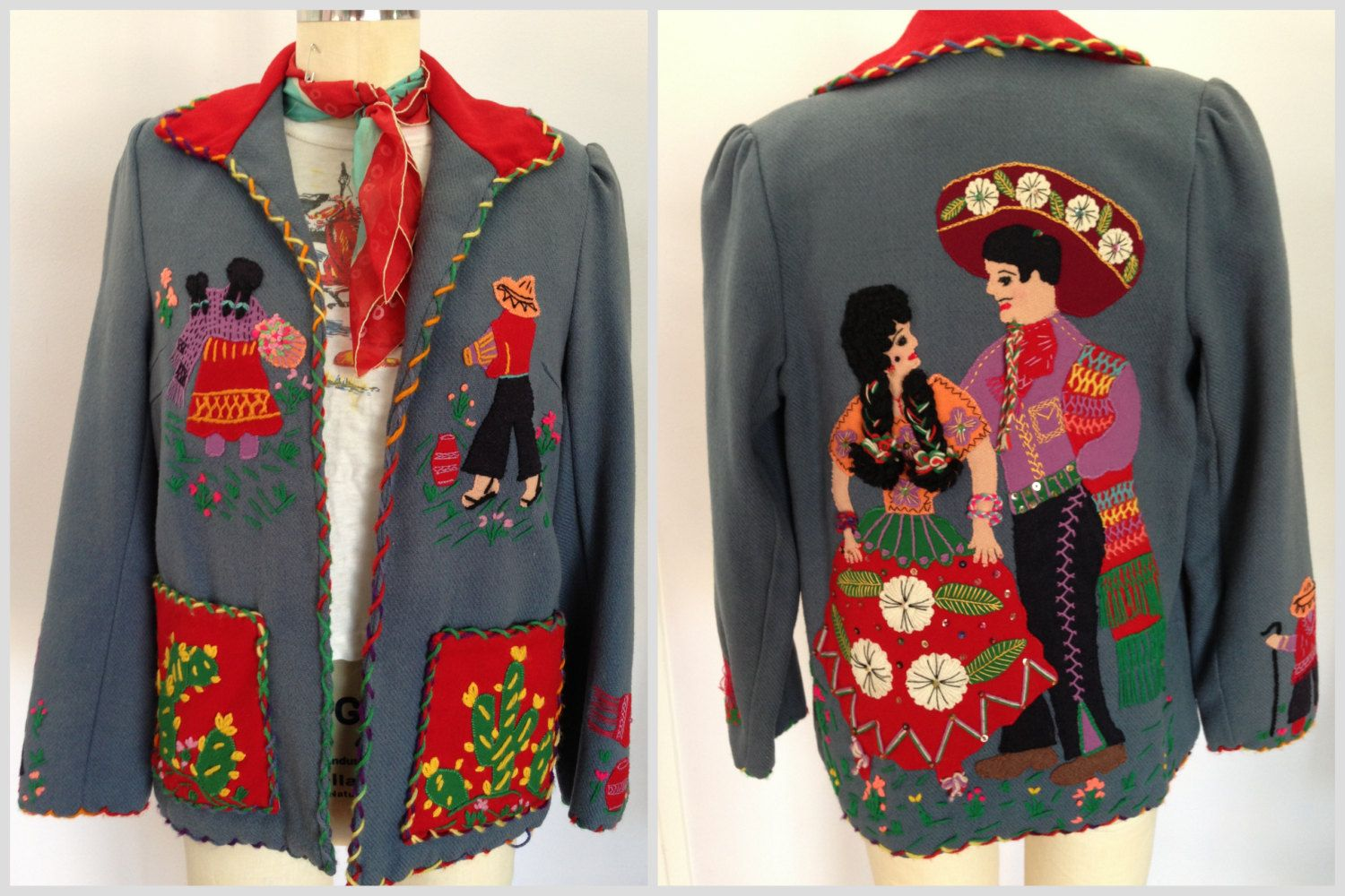 Great 1940s Mexican embroidered and appliqued jacket