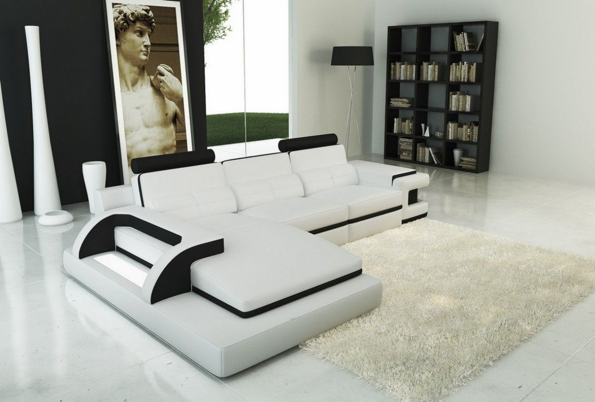 White Living Room Sets Divani Casa 6122b Modern White And Black Bonded Leather Sectional