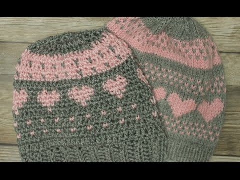 Crochet a Knit Stitch and Fair Isle Hearts Hat - All Crafts ...