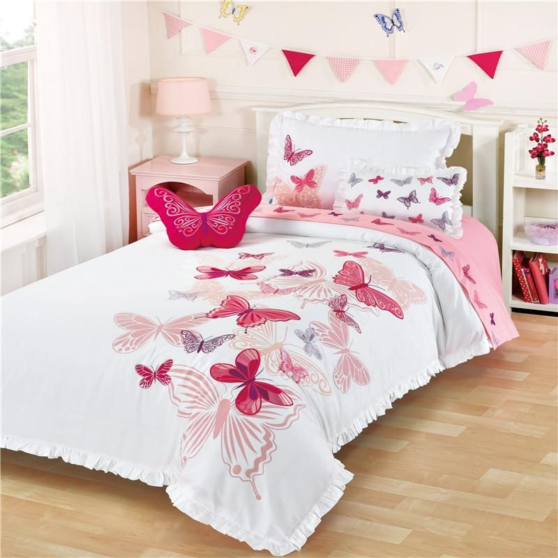 Butterfly Embroidery Girl Bedding Little Girls Bedding Sets