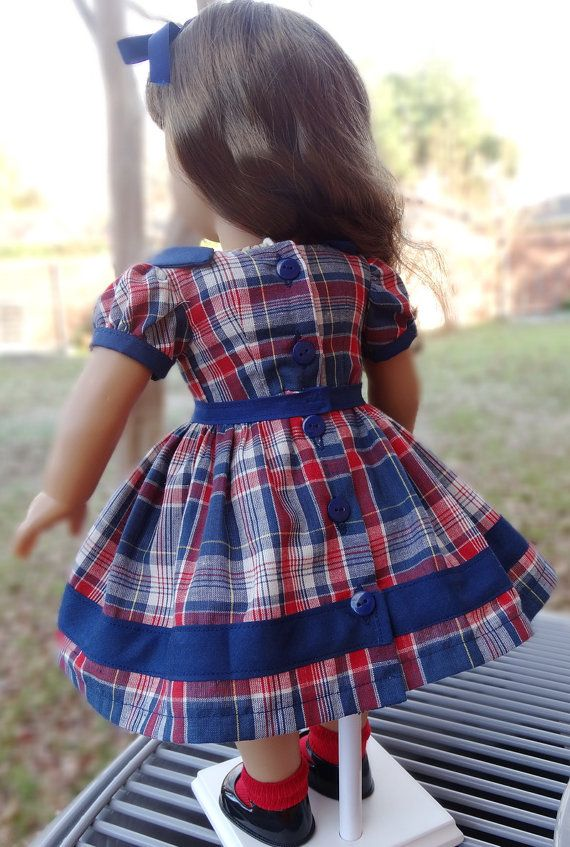 18 Doll Clothes 1950's Style Plaid Dress Fits by Designed4Dolls