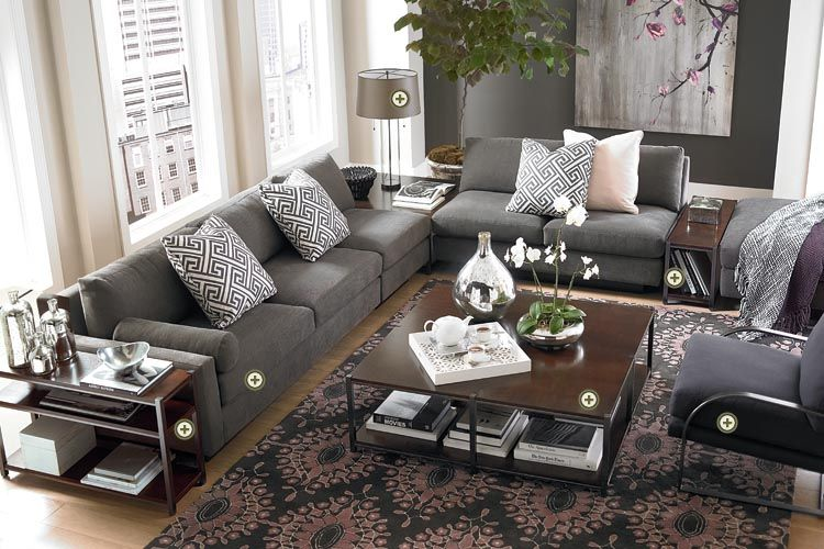 Grey furniture + very cool rug from Bassett Furniture