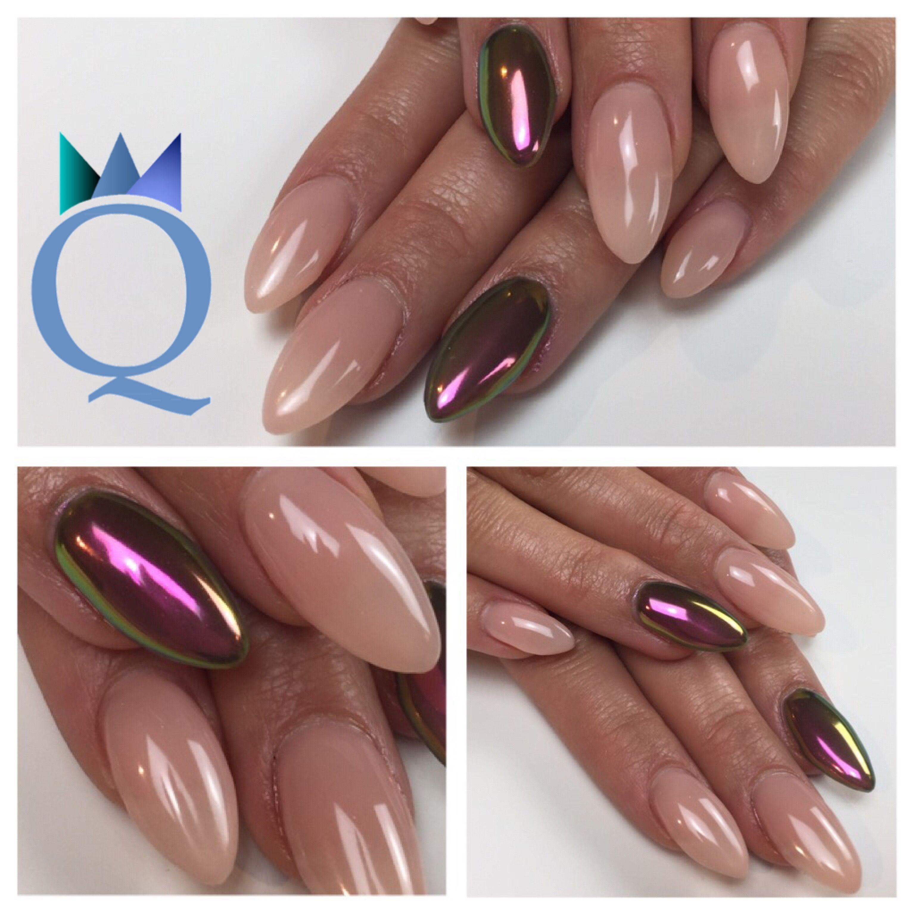 almondshape #gelnails #nails #nudenails #chameleon #chrome ...