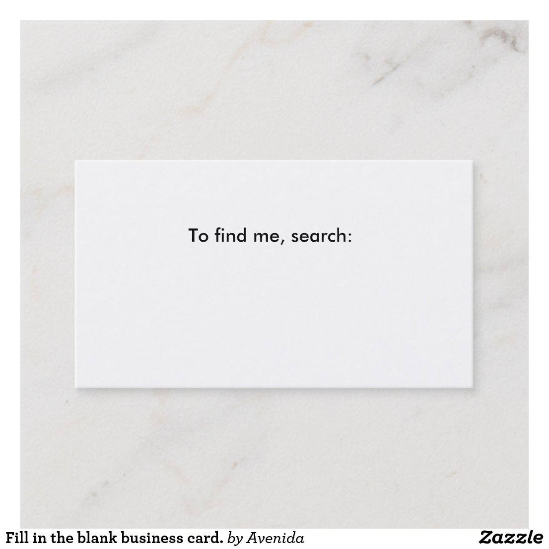 Fill In The Blank Business Card Business Card Zazzle Com Blank Business Cards Business Cards Printing Double Sided