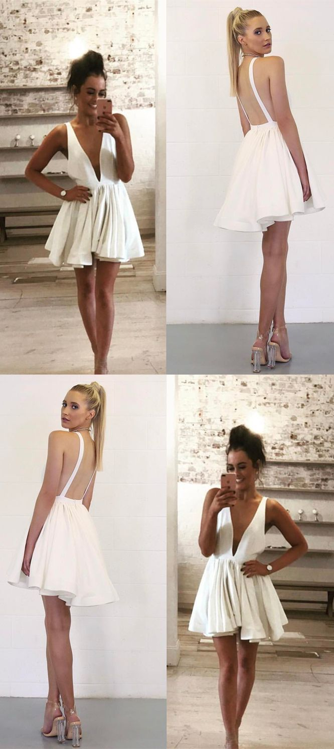 Short white homecoming dressessexy backless prom dressfashion deep