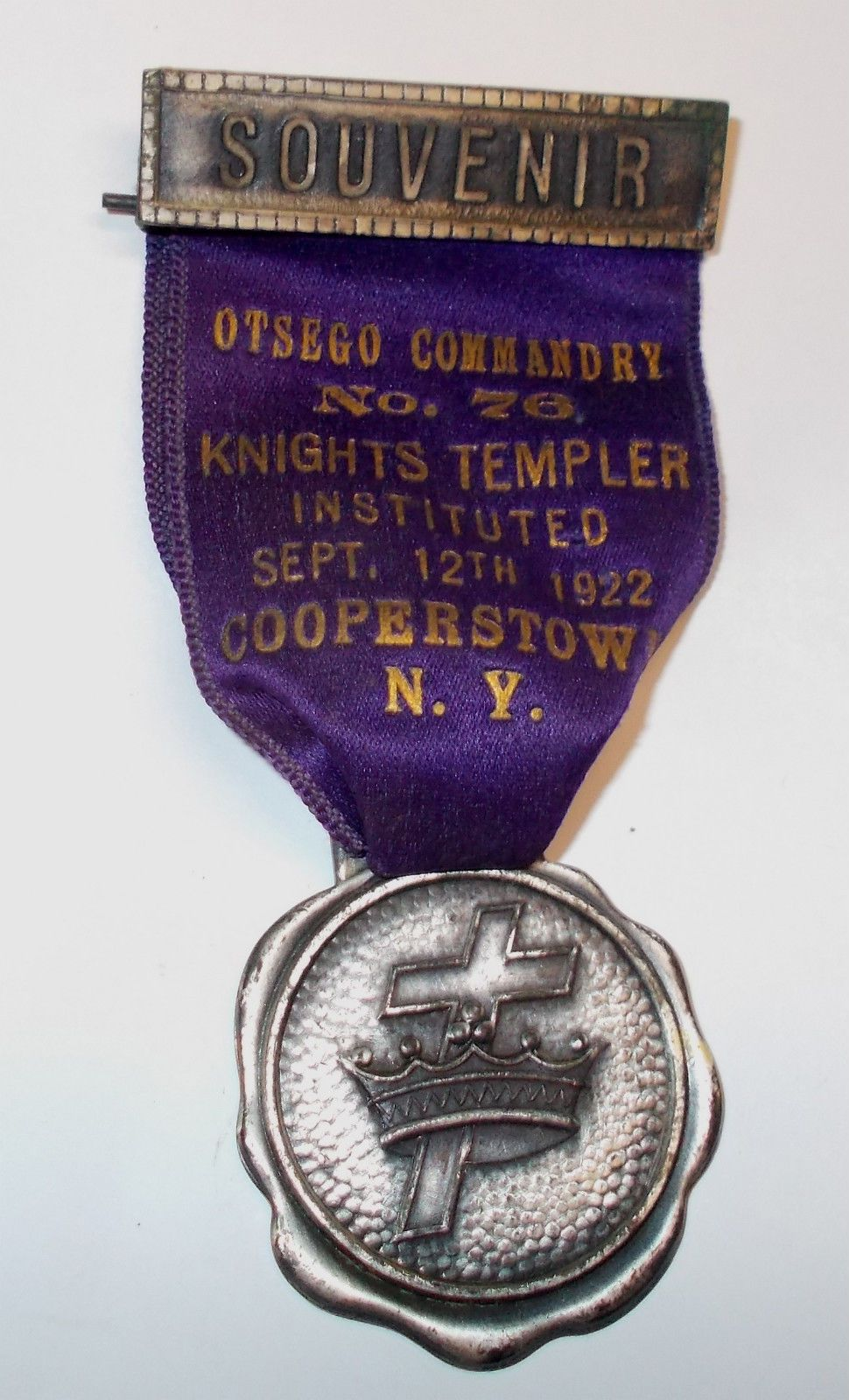 Vintage 1922 Knights Templer Otsego Commandry Souvenir Ribbon Medal | eBay