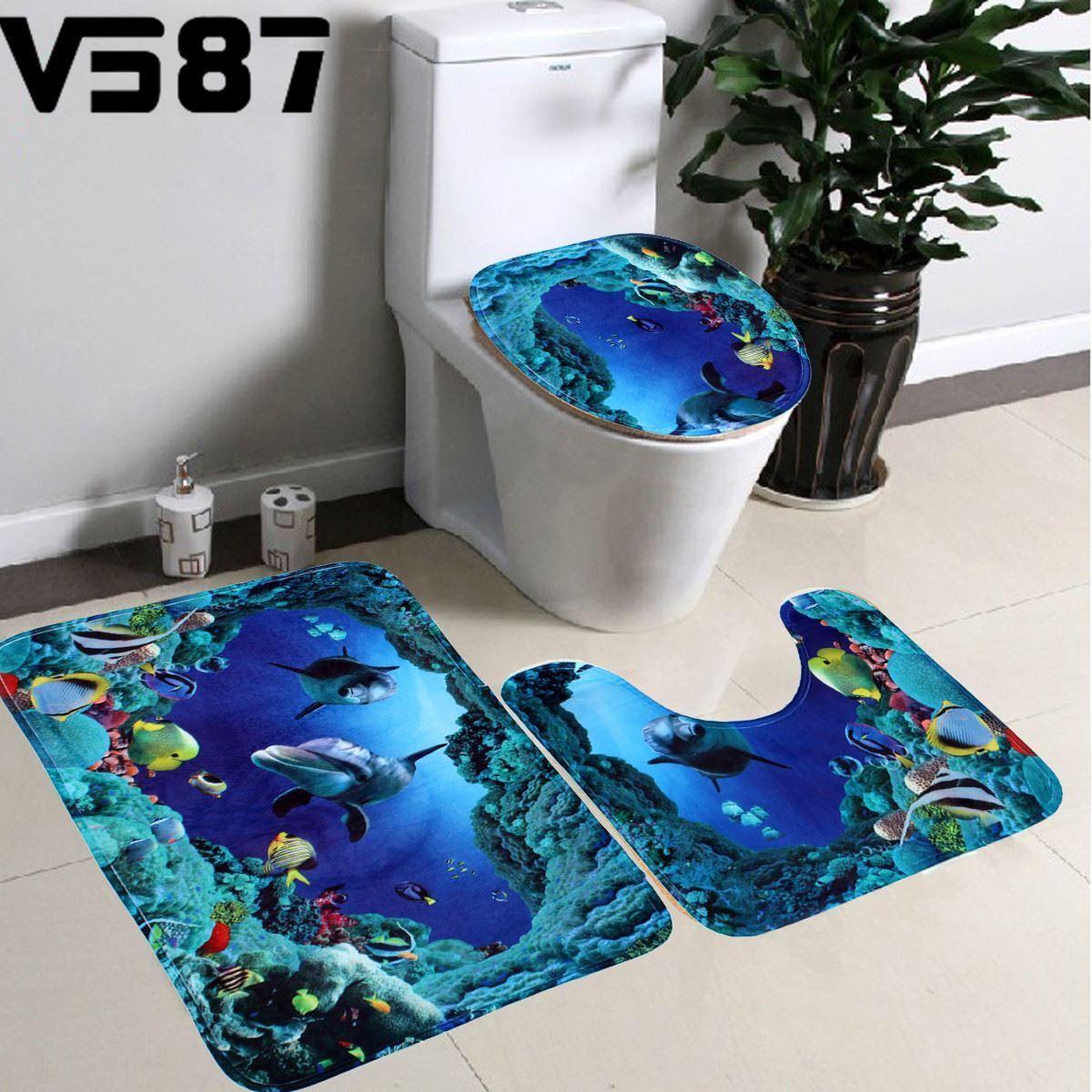 3Pcs/Set Bathroom Slip Resistance Bath Mat Sea World Blue Shark ...