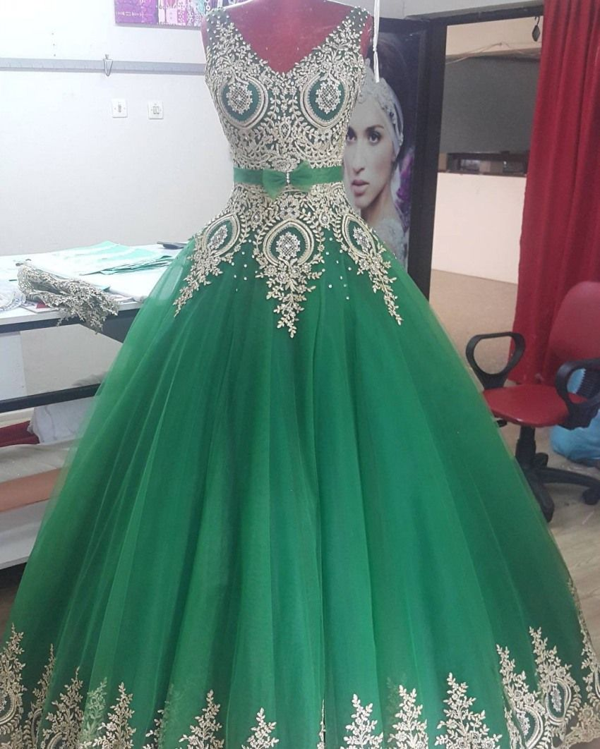 Free Shipping] Buy Best Beautiful Green Ball Gown Gold Lace ...