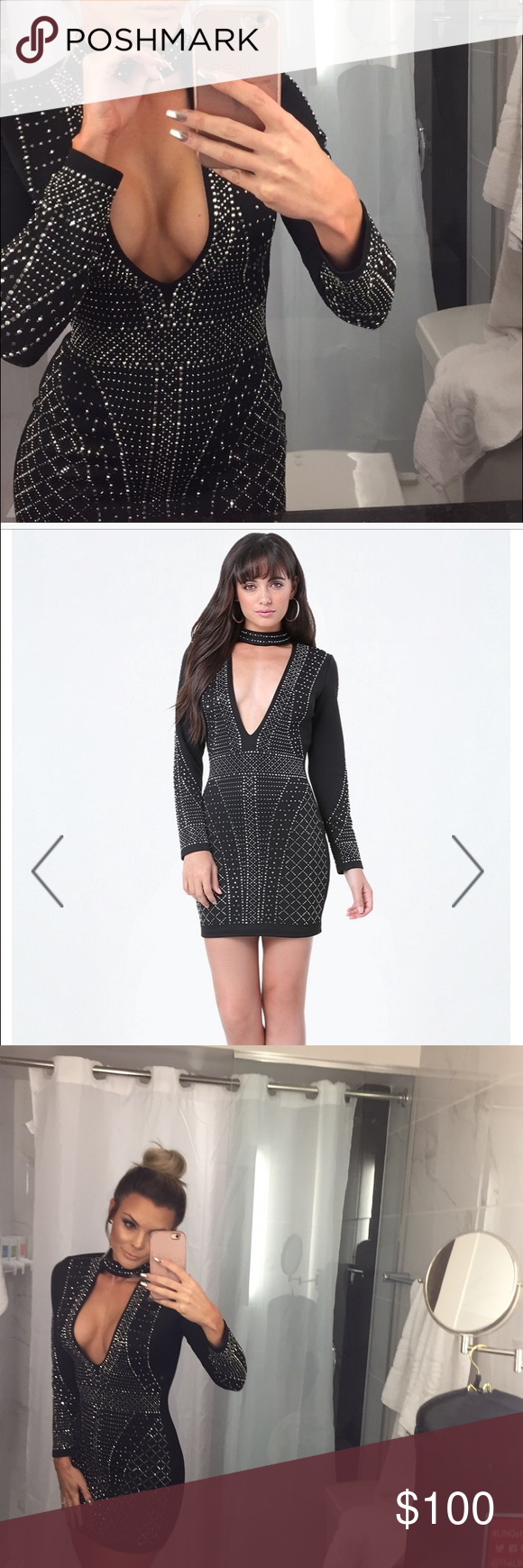 Bebe Alexa Embellished Choker Dress Size Small Bebe dress. Tags attached, tried on. Perfect condition! Really nice quality and thick quilted material. Perfect for winter to keep you warmer! Studs and stones are silver toned. Purchase price $198 bebe Dresses Mini