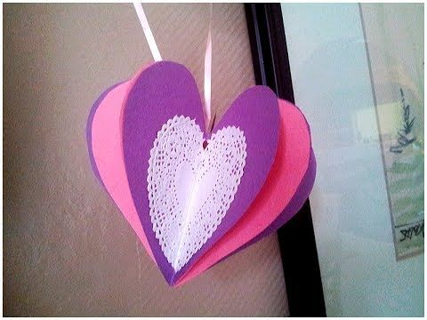 How to make a 3-D heart from paper. Valentine's Day craft. Join us on Face Book! www.facebook.com/crasftsandmorewithmisilla