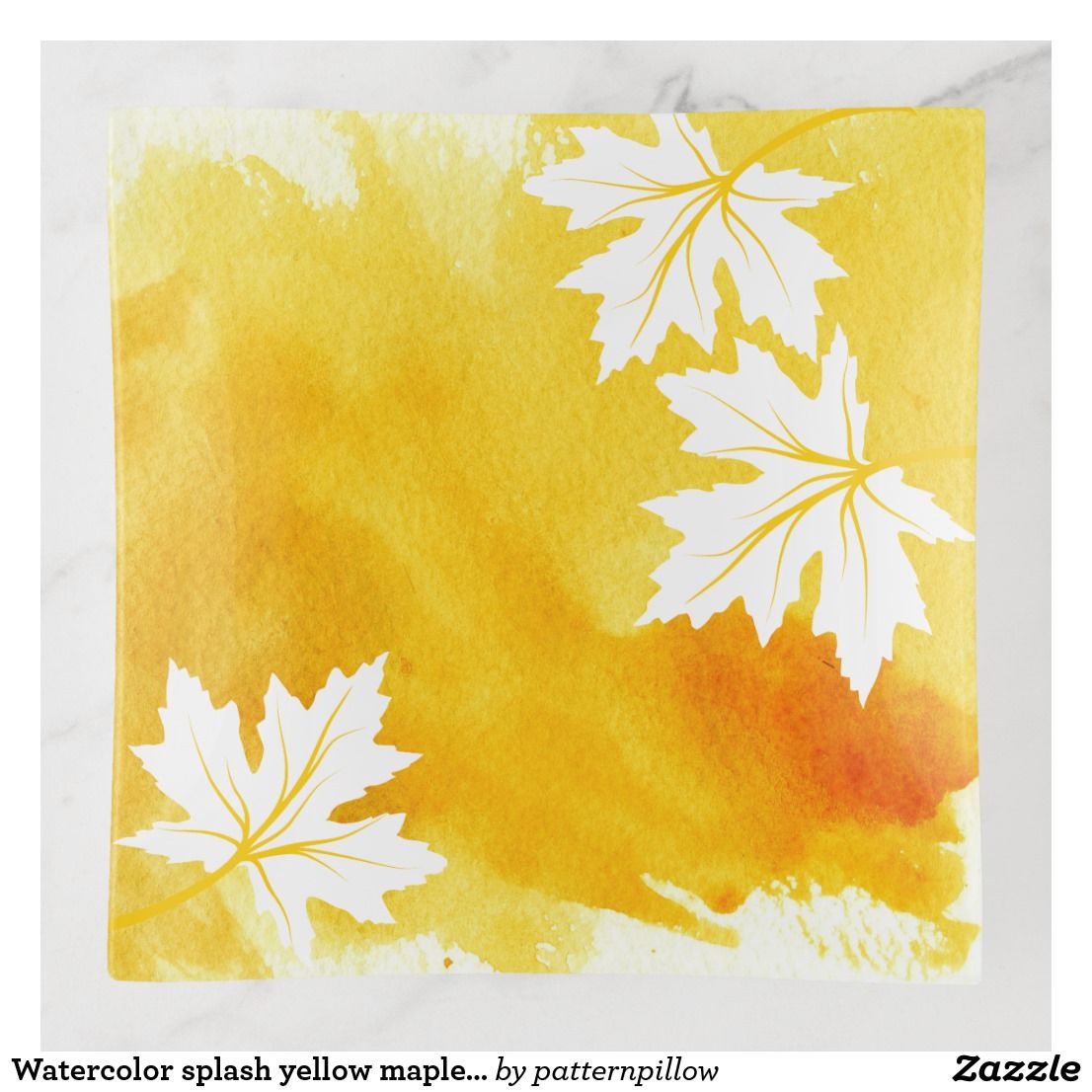 Moern Yellow Watercolor Splash And Maple Leaves Trinket Trays