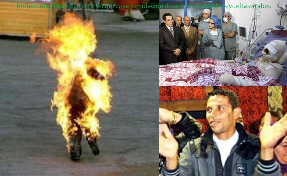 Mohammed Bouazizi sets himself on fire in protest of the ... Arab Spring Man On Fire
