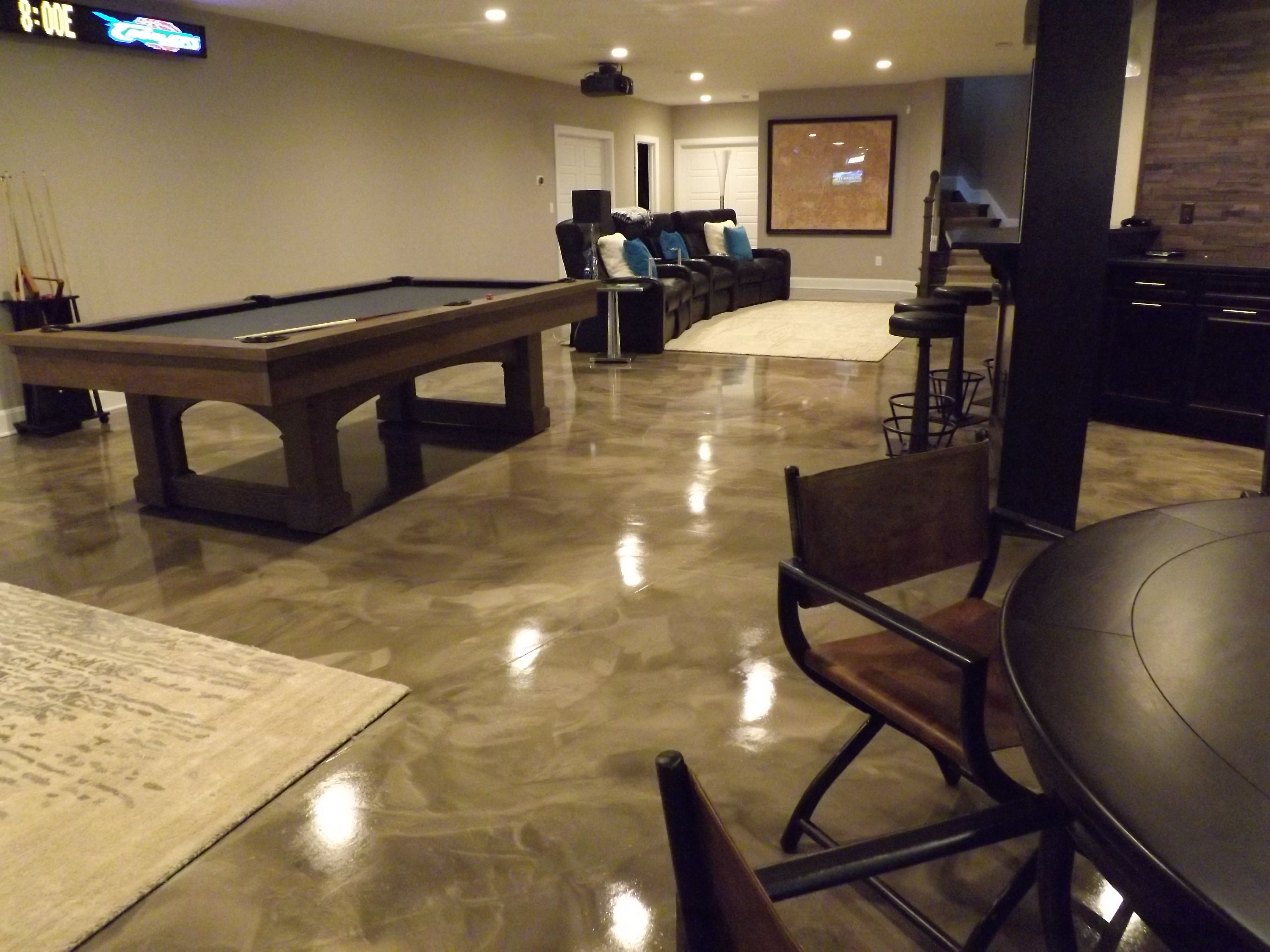 Epoxy with metallic marble design for a basement More : flooring-ideas-for-basement-family-room - designwebi.com