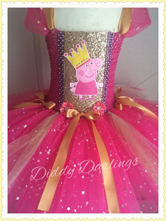 77929887124a Sparkly Peppa Pig Tutu Dress. Pink And Gold Tutu Dress. Peppa Dress ...