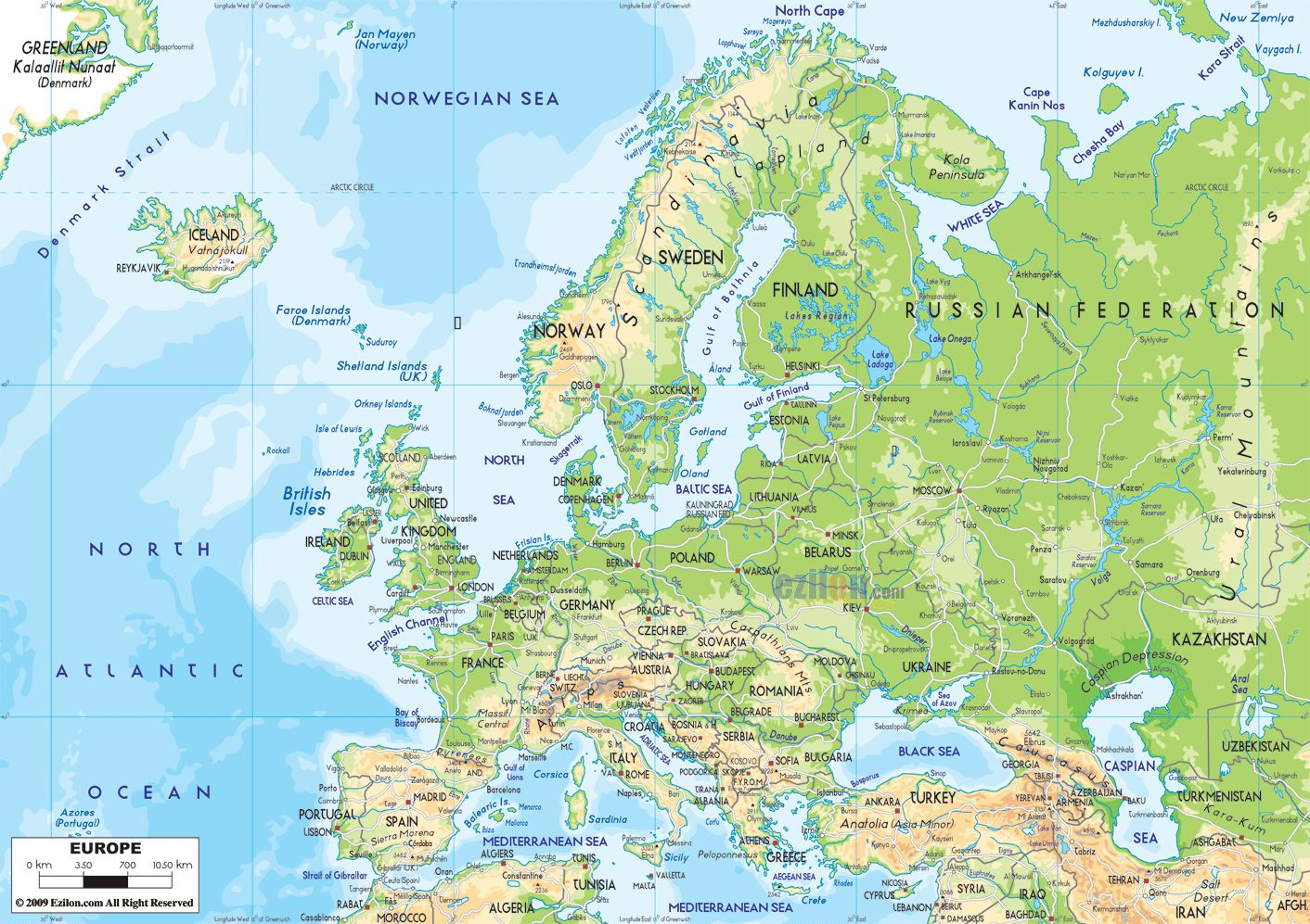 Detailed Map Europe Detailed physical map of Europe with roads