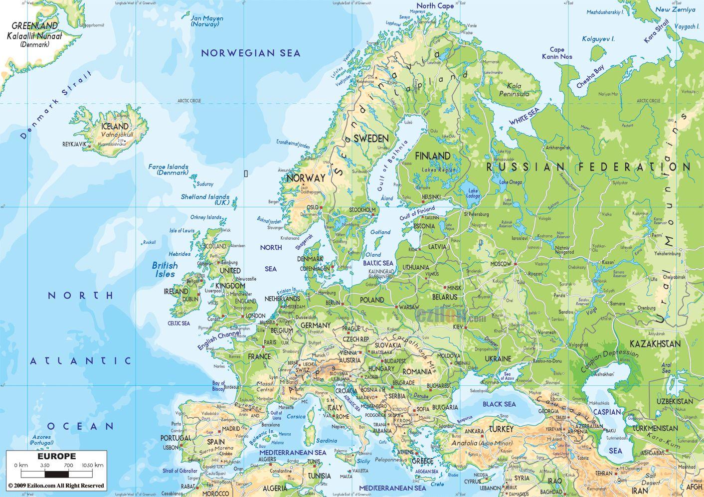Detailed Map Europe