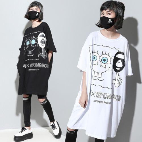 Fashion Japanese Harajuku Lolita Sweet Loose T-shirt Dress Short Sleeve BF  Style
