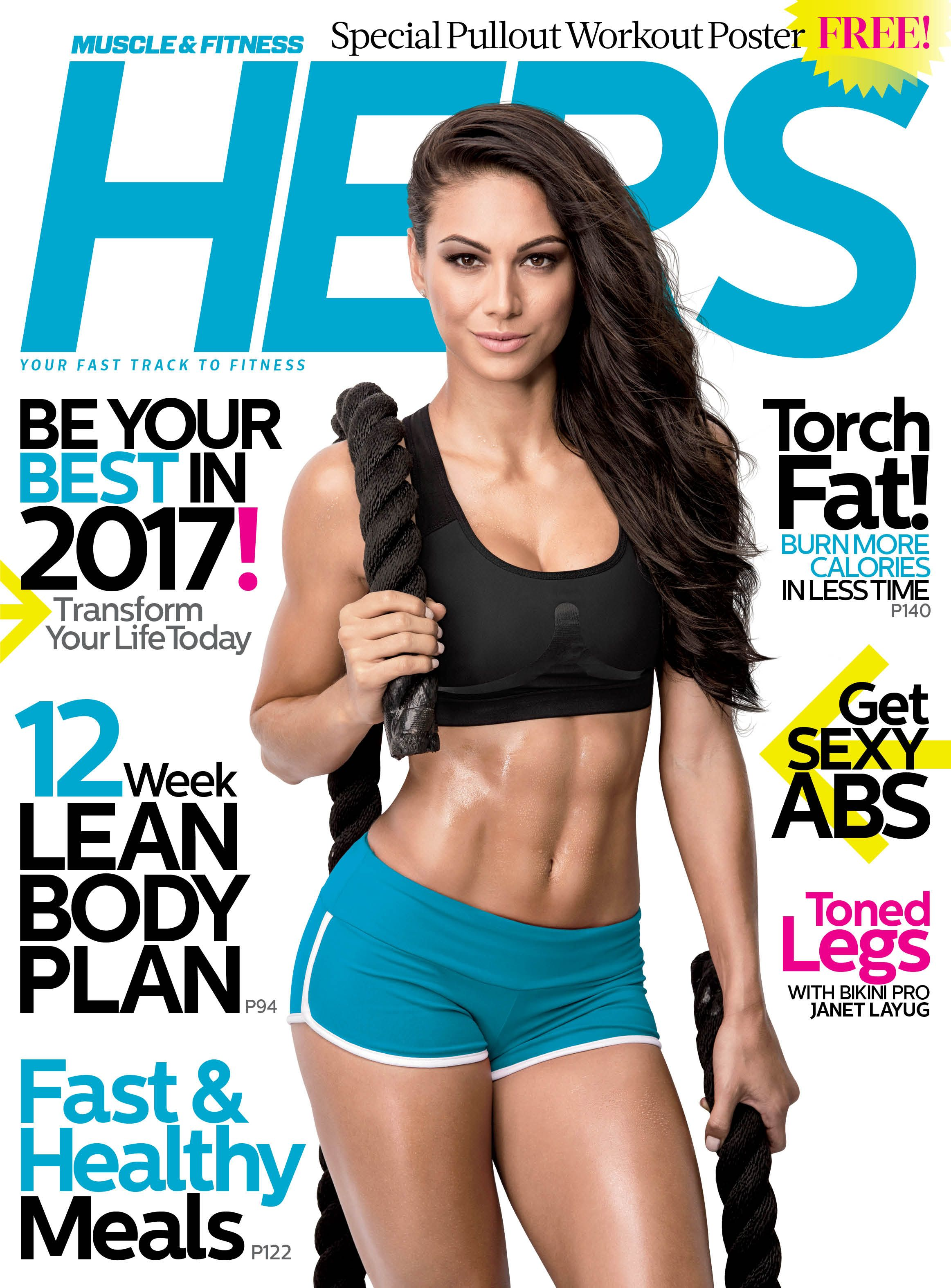 cb68bdd0bf8 Pick up our January 2017 Issue of Muscle   Fitness Hers magazine with IFBB  Bikini Pro Janet Layug